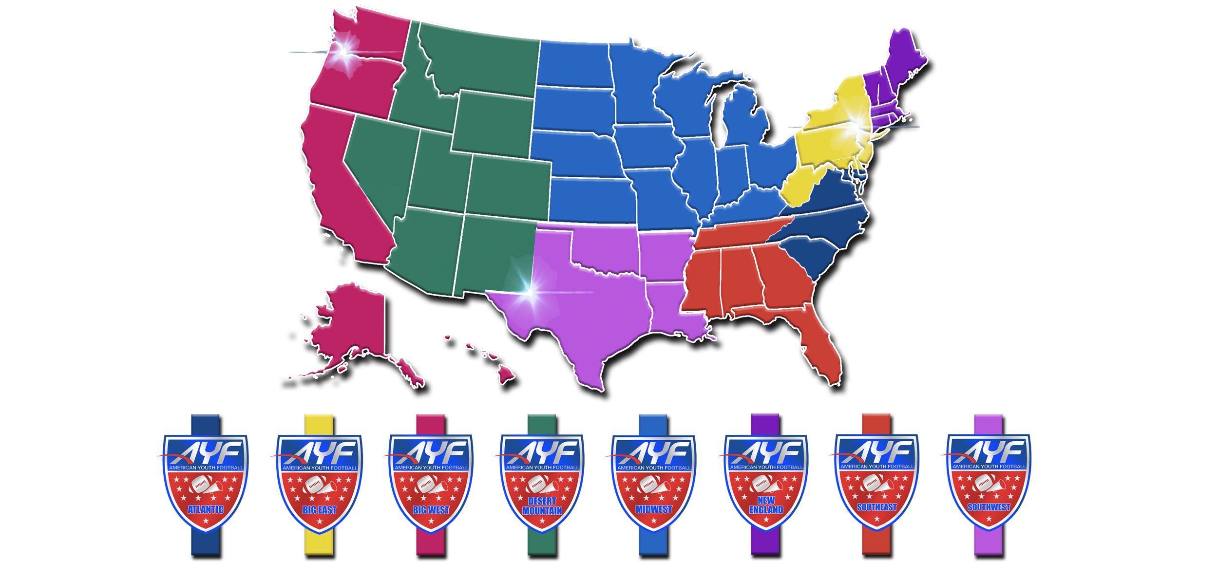 American Youth Football Cheer The Worlds Largest Youth - Us regions map mid atlantic south central